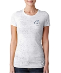 Corner Canyon Football - Ladies White Crew Burnout Shirt