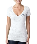 Corner Canyon Football - Ladies White Deep V Burnout Shirt