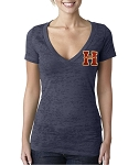 Herriman Mustangs Baseball Ladies Deep V Burnout Shirt