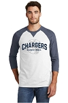 Corner Canyon Chargers Basketball  - Adult Navy-White Ring-Spun 3/4 Sleeve Tee - Retro Spray on Ink Logo