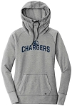 Corner Canyon Chargers Basketball  - Ladies TriBlend Fleece Pullover Cowl-Neck Hoodie - Retro Spray on Ink Logo