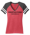 Mt Ridge Sentinels Baseball - (Red) - Ladies Varsity V-Neck T