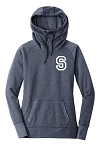 Skyline High School Eagles Basketball  - Ladies TriBlend Fleece Pullover Cowl-Neck Hoodie - S Logo