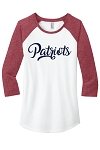 Providence Hall Patriots – 3/4 -Sleeve Raglan Top – Patriot Glitter Logo - Red