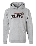 Utah Blitz Football Gray - Official Logo - Embroidered Hooded, (Hoody), Sweatshirt