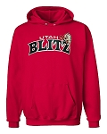 Utah Blitz Football Heather Red - Official Logo - Embroidered Hooded, (Hoody), Sweatshirt