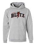 Utah Blitz Football Gray - Lightning Logo - Embroidered Hooded, (Hoody), Sweatshirt