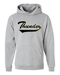 Westlake Thunder Classic Script Logo -Embroidered Hooded Gray Sweatshirt (Hoody)