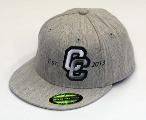 Corner Canyon Chargers Football  – Flat Bill Est. Logo Heather Gray  Cap - Flex Fit (Hat)
