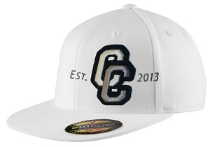 Corner Canyon Chargers Football - Flat Bill Logo White Cap - Flex Fit (Hat)
