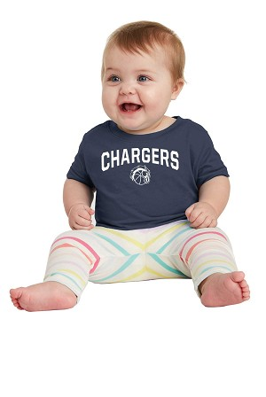 Corner Canyon Chargers Basketball  - Infant to Adult Navy T-shirt with Logo (Tee)
