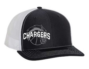 Corner Canyon Chargers Basketball - Navy-White Trucker Style Cap with Embroidered Logo