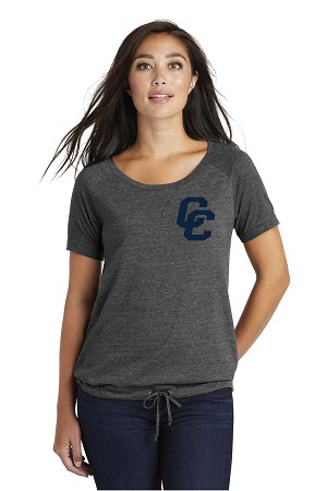 Corner Canyon Chargers Basketball  - Ladies Tri-Blend Cinch Tee with Felt Logo