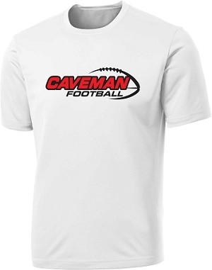 Caveman Football - Cooling Performance Wicking T-Shirt White (Cavemen)
