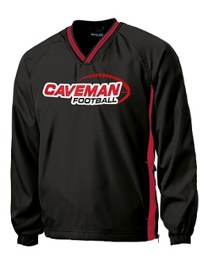 Caveman Football - Sideline V-Neck Black Wind Shirt - Cavemen