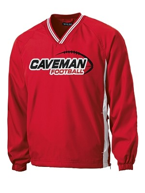 Caveman Football - Sideline V-Neck Red Wind Shirt - Cavemen