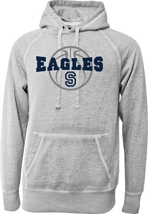 Skyline Eagles Basketball - Gray - Acid Washed Burnout Fleece Hooded Sweatshirt with Retro Sprayed Ink Finish (Hoody Hoodie Grey)