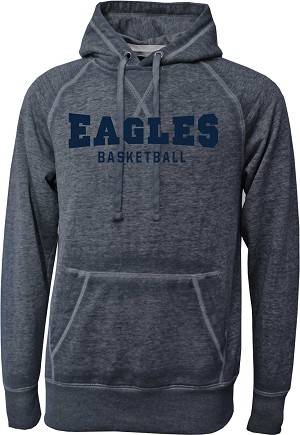 Skyline Eagles Basketball - Navy - Acid Washed Burnout Fleece Hooded Sweatshirt with Retro Sprayed Ink Finish (Hoody Hoodie )