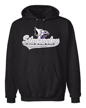 SilverWolves Howling Black Hooded 'Hoody' Sweatshirt - Silver Text