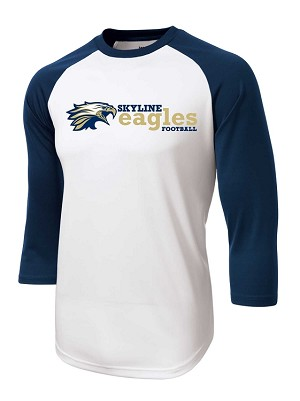 Skyline Eagles Football - Vintage 3/4 Sleeve Jersey - Wicking T-Shirt