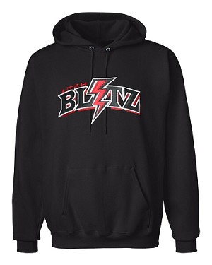 Utah Blitz Football Black - Lightning Logo - Embroidered Hooded, (Hoody), Sweatshirt