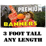 3' Standard Size - Premium-Weight 15 oz. Digitally Printed Custom Vinyl Banners