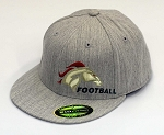 Herriman Mustangs Football  – Flat Bill Logo Heather Gray  Cap - Flex Fit (Hat)