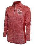Providence Hall Patriots – Ladies 1/4 -Zip Running Jacket – PH Reflective Logo - Red