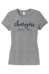 Corner Canyon Chargers Basketball  - Ladies Ring-Spun Tee - Retro Spray on Ink Logo