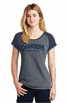 Corner Canyon Chargers Basketball  - Ladies Navy Ring-Spun Varsity Tee - Retro Spray on Ink Logo