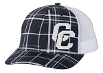 Corner Canyon Chargers Basketball - Navy-White Plaid Trucker Style Cap with Glitter Logo (Hat)