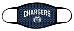 Chargers - Charger Basketball Logo with Text - Triple Layer Fabric Facemask - Corner Canyon High School