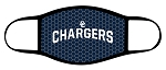 Chargers - Charger Logo with Text - Triple Layer Fabric Facemask - Corner Canyon High School