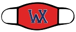 Wildcats - Face Mask - WX Metal Logo over Red - Triple Layer Fabric - Woods Cross Wild Cats High School
