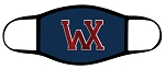 Wildcats - Face Mask - WX Metal Logo over Blue - Triple Layer Fabric - Woods Cross Wild Cats High School