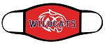 Wildcats - Face Mask - Full Color Text and Wildcat Logo over Red - Triple Layer Fabric - Woods Cross Wild Cats High School