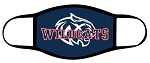 Wildcats - Face Mask - Full Color Text and Wildcat Logo over Blue - Triple Layer Fabric - Woods Cross Wild Cats High School