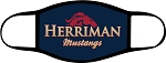 Mustangs - Face Mask - Herriman Mustangs Text and Logo - Triple Layer Fabric - Herriman