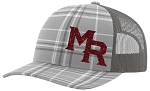 Mt Ridge Sentinels Baseball - Gray Plaid Baseball Trucker Style Cap with Glitter Logo (Hat)