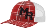 Mt Ridge Sentinels Baseball - Red Plaid Baseball Trucker Style Cap with Glitter Logo
