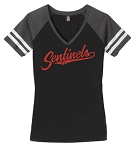 Mt Ridge Sentinels Baseball - (Black) - Ladies Varsity V-Neck T with Glitter Logo