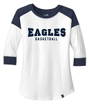 Skyline High School Eagles Basketball  - Ladies Navy-White Ring-Spun 3/4 Sleeve Tee - Retro Spray on Ink Logo