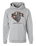 Utah Blitz Football Gray - Official Logo - Hooded, (Hoody), Sweatshirt